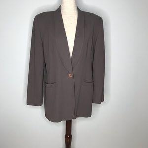 Oleg Cassini oversized brown blazer